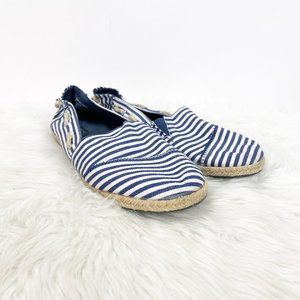 Nautica Blue White Striped Espadrille Flats